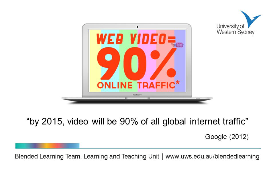 by 2015, video will be 90% of all global internet traffic Google (2012)