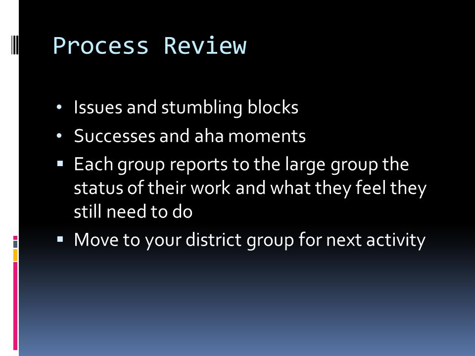 Process Review Issues and stumbling blocks Successes and aha moments  Each group reports to the large group the status of their work and what they feel they still need to do  Move to your district group for next activity