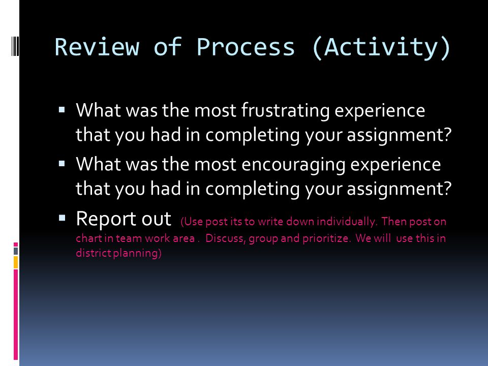 Review of Process (Activity)  What was the most frustrating experience that you had in completing your assignment.