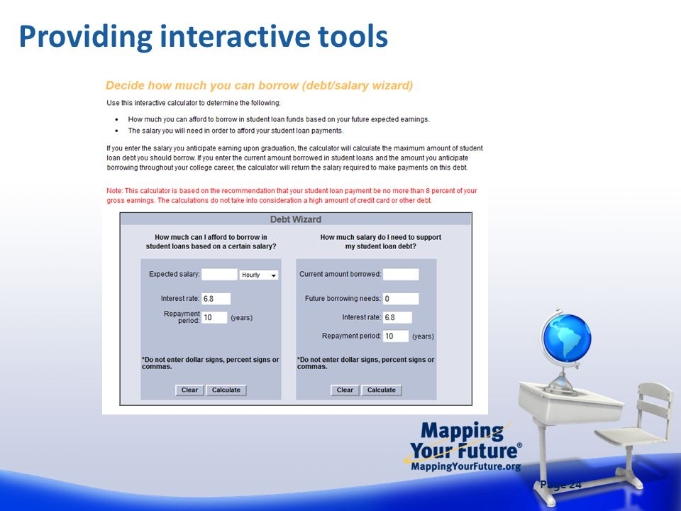 Page 24 Providing interactive tools