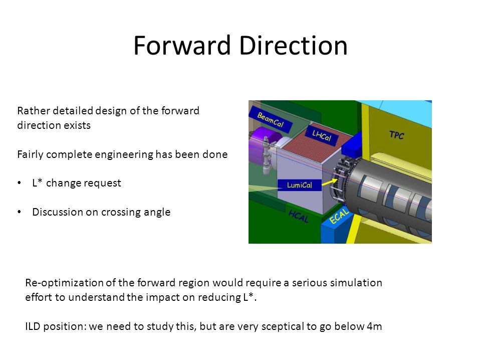 Forward Direction Rather detailed design of the forward direction exists Fairly complete engineering has been done L* change request Discussion on crossing angle Re-optimization of the forward region would require a serious simulation effort to understand the impact on reducing L*.