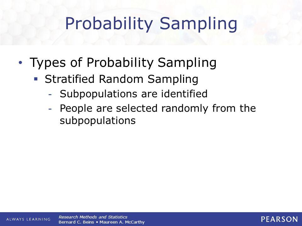 Research Methods and Statistics Bernard C. Beins Maureen A. McCarthy Probability Sampling Types of Probability Sampling  Stratified Random Sampling -