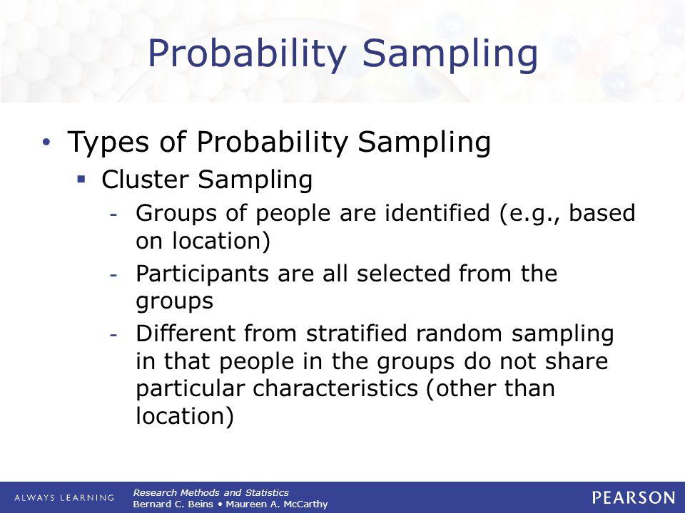 Research Methods and Statistics Bernard C. Beins Maureen A. McCarthy Probability Sampling Types of Probability Sampling  Cluster Sampling -Groups of