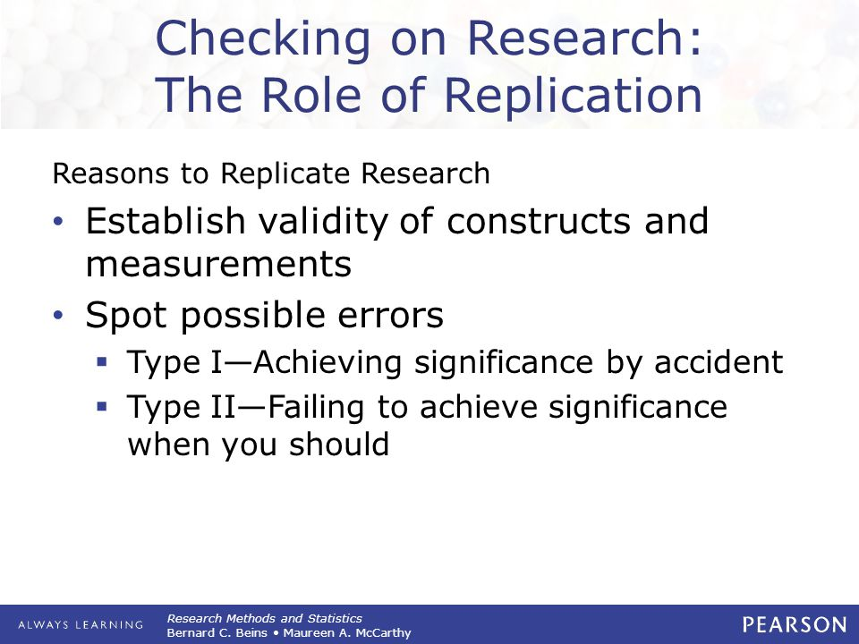 Research Methods and Statistics Bernard C. Beins Maureen A. McCarthy Checking on Research: The Role of Replication Reasons to Replicate Research Estab