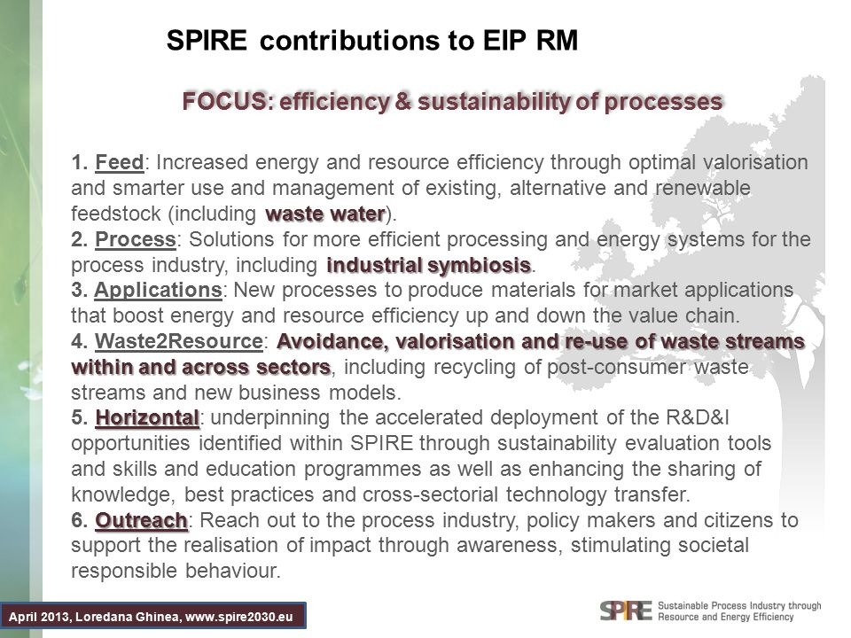 April 2013, Loredana Ghinea, www.spire2030.eu SPIRE contributions to EIP RM waste water 1. Feed: Increased energy and resource efficiency through opti