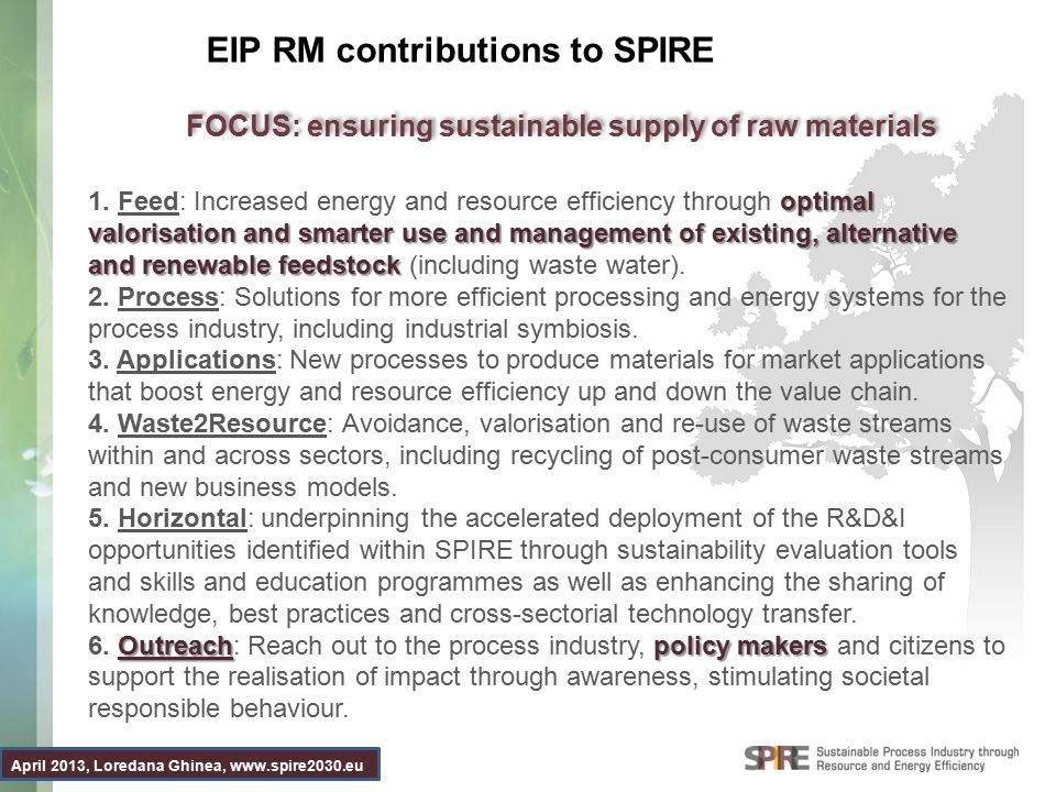 April 2013, Loredana Ghinea, www.spire2030.eu EIP RM contributions to SPIRE optimal valorisation and smarter use and management of existing, alternative and renewable feedstock 1.