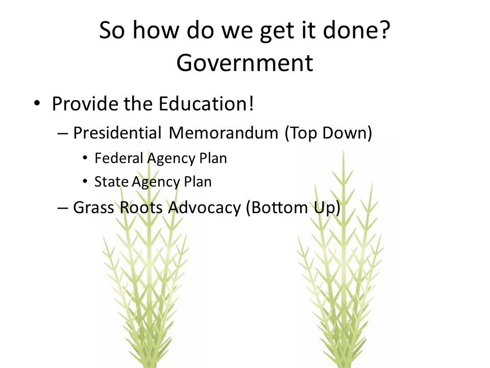So how do we get it done? Government Provide the Education! – Presidential Memorandum (Top Down) Federal Agency Plan State Agency Plan – Grass Roots A