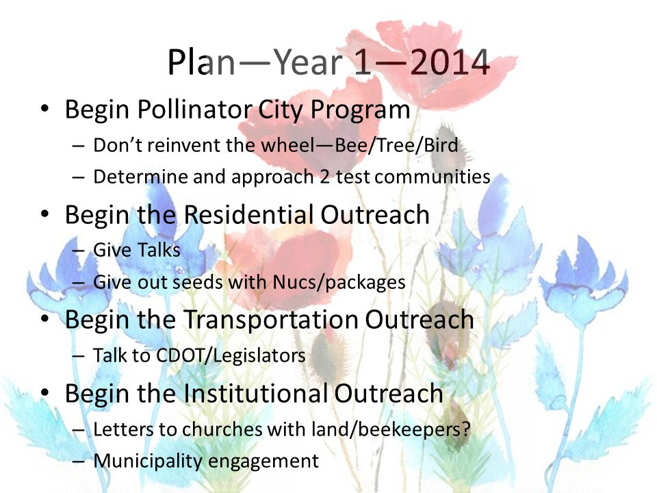 Plan—Year 1—2014 Begin Pollinator City Program – Don't reinvent the wheel—Bee/Tree/Bird – Determine and approach 2 test communities Begin the Residential Outreach – Give Talks – Give out seeds with Nucs/packages Begin the Transportation Outreach – Talk to CDOT/Legislators Begin the Institutional Outreach – Letters to churches with land/beekeepers.