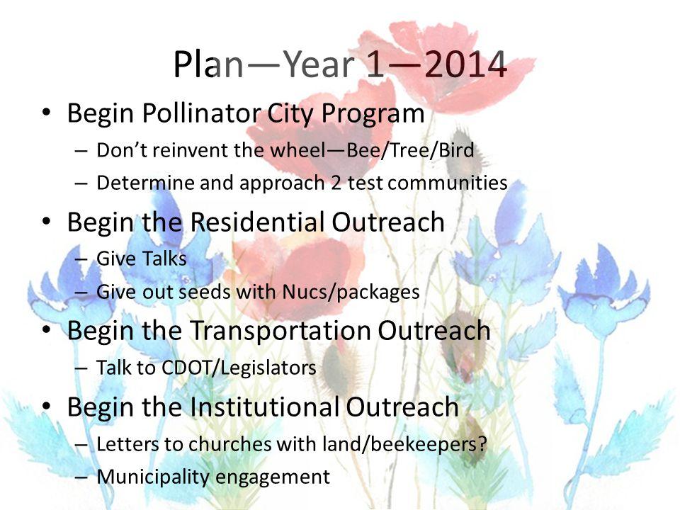 Plan—Year 1—2014 Begin Pollinator City Program – Don't reinvent the wheel—Bee/Tree/Bird – Determine and approach 2 test communities Begin the Resident