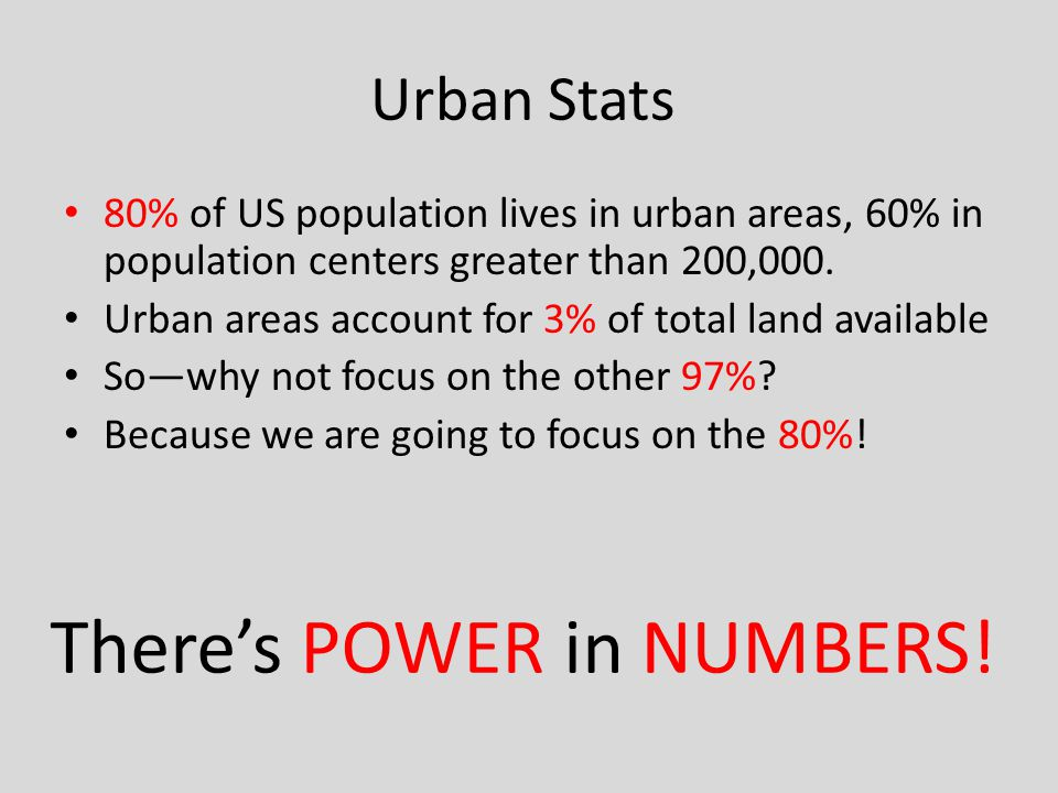 Urban Stats 80% of US population lives in urban areas, 60% in population centers greater than 200,000.