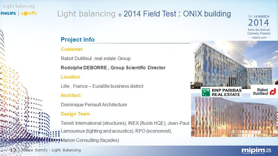 13  Philips Somfy - Light Balancing Light balancing ® 2014 Field Test : ONIX building Project Info Customer Rabot Dutilleul, real estate Group Rodolph
