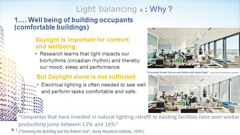10| Philips Somfy - Light Balancing 2…Because energy savings is required for lower operational cost, meeting regulations, green certifications, CO2 targets, etc… Integrated lighting & blinds systems strongly: Reduce building operation cost Up to 70% reduction on Lighting electricity bill Up to 60% reduction on HVAC energy Source: UTC Power Energy Efficient Building Seminar' Beijing, China Increases building value & rental rates Up to 5% higher asset valuation Up to 3% higher rental rates Reference: The Economics of Green Building Light balancing ® : Why ?