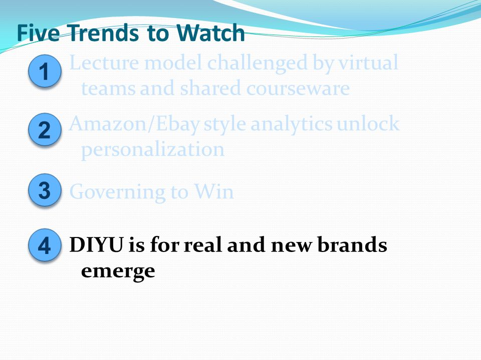 Five Trends to Watch 2 2 Amazon/Ebay style analytics unlock personalization 3 3 Governing to Win 1 1 Lecture model challenged by virtual teams and sha