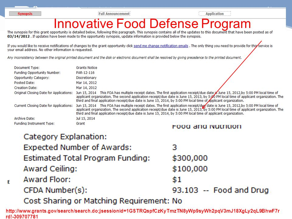 http://www.grants.gov/search/search.do;jsessionid=1GSTRQspfCzKyTmzTN8yWp9syWh2pqV3mJ18XgLy2qL9BhwF7r rd!-309707781 Innovative Food Defense Program
