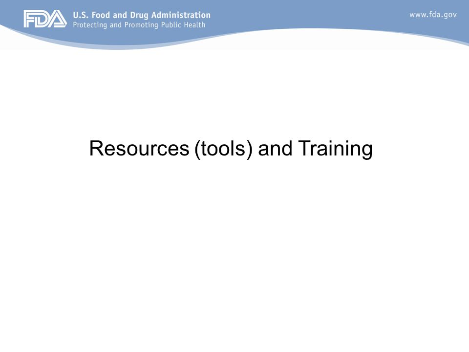 Resources (tools) and Training