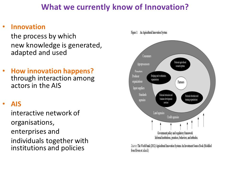 What we currently know of Innovation? Innovation the process by which new knowledge is generated, adapted and used How innovation happens? through int