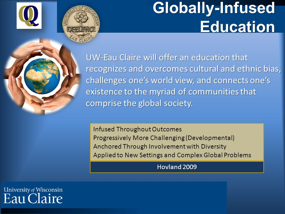 Globally-Infused Education UW-Eau Claire will offer an education that recognizes and overcomes cultural and ethnic bias, challenges one's world view, and connects one's existence to the myriad of communities that comprise the global society.