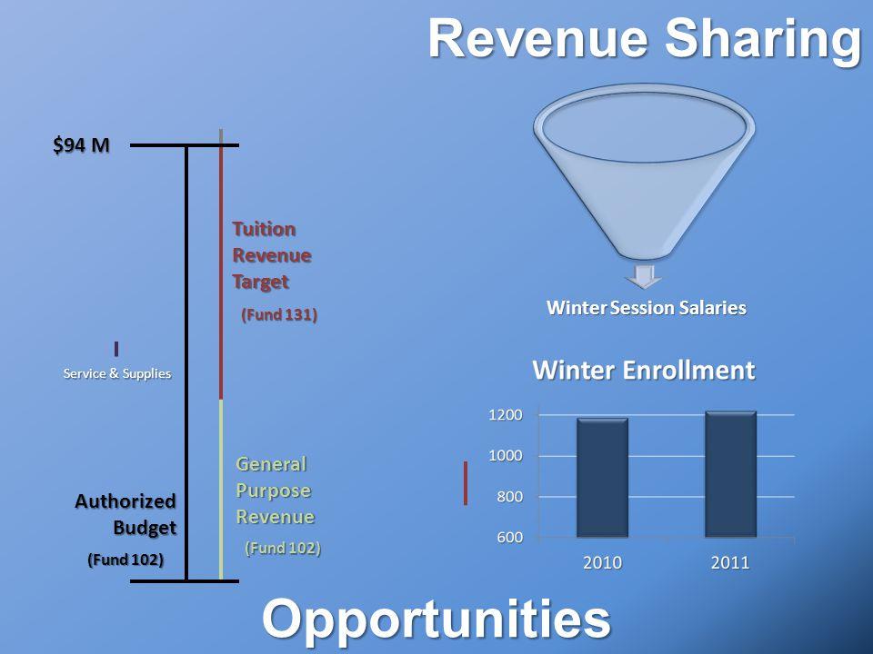 Opportunities AuthorizedBudget $94 M TuitionRevenueTarget (Fund 131) GeneralPurposeRevenue (Fund 102) Winter Session Salaries Winter Session Salaries Revenue Sharing Service & Supplies