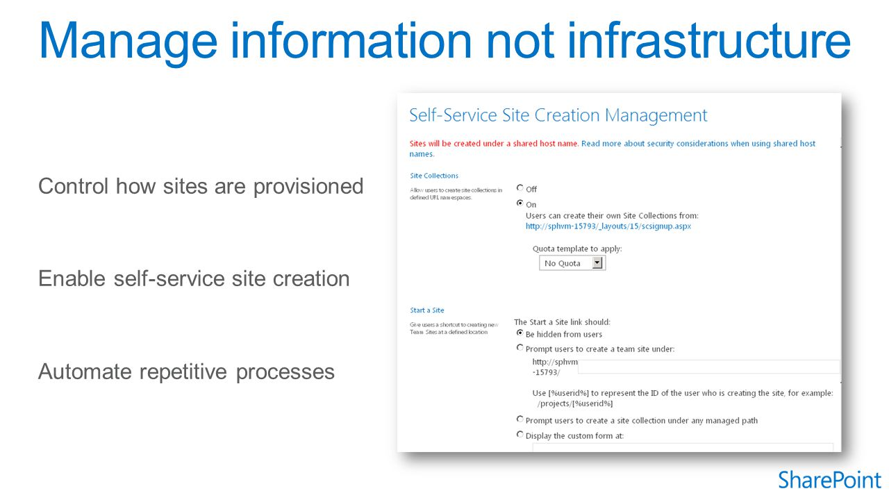 Control how sites are provisioned Enable self-service site creation Automate repetitive processes