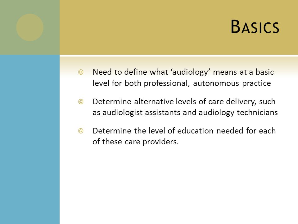 B ASICS  Need to define what 'audiology' means at a basic level for both professional, autonomous practice  Determine alternative levels of care delivery, such as audiologist assistants and audiology technicians  Determine the level of education needed for each of these care providers.