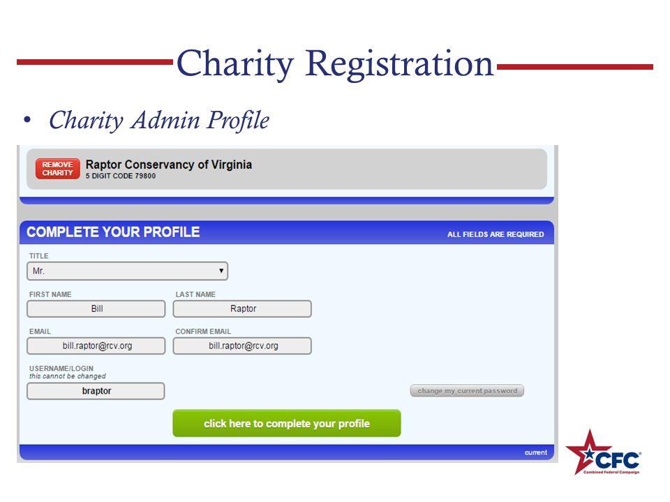 Charity Registration Charity Admin Profile