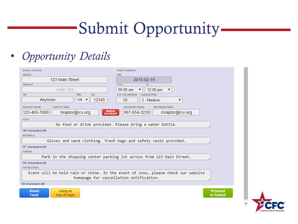 Submit Opportunity Opportunity Details