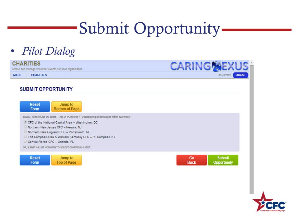 Submit Opportunity Pilot Dialog