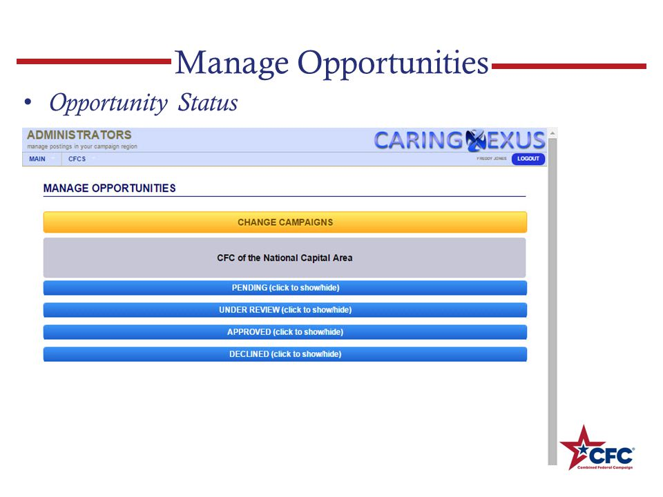 Manage Opportunities Opportunity Status