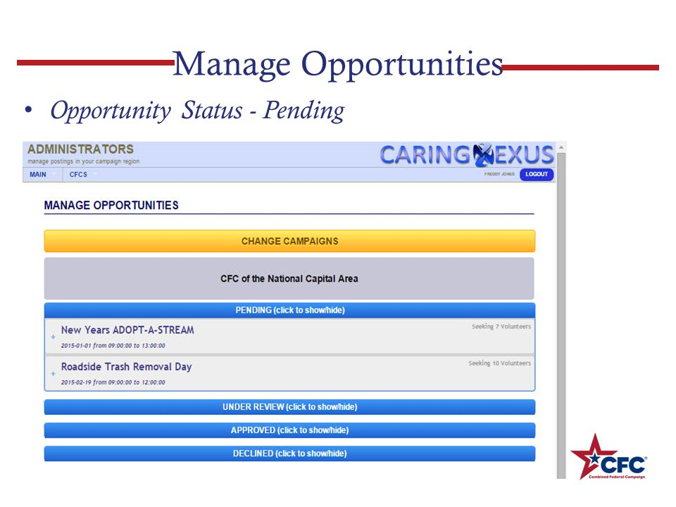 Manage Opportunities Opportunity Status - Pending