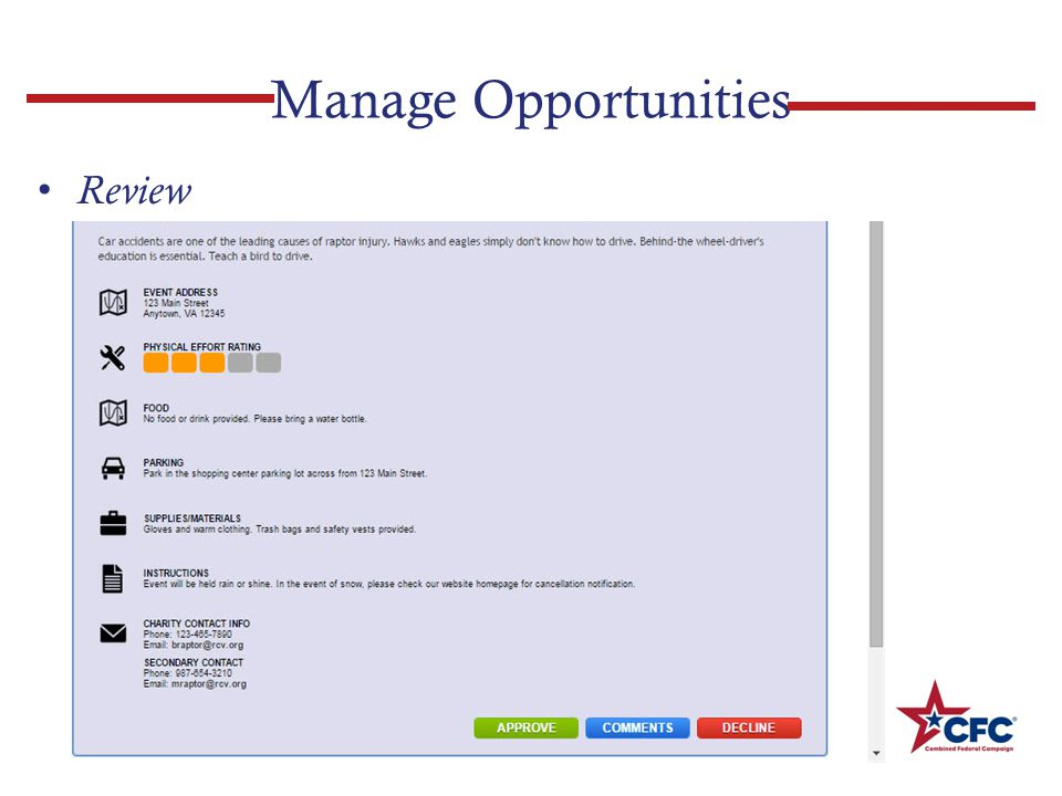 Manage Opportunities Review