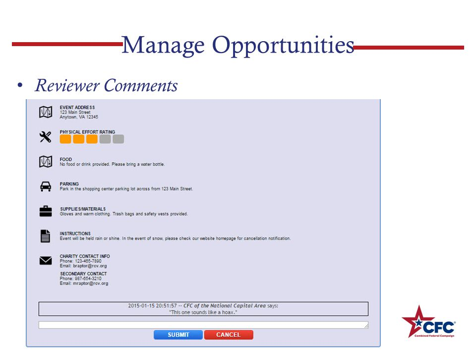 Manage Opportunities Reviewer Comments