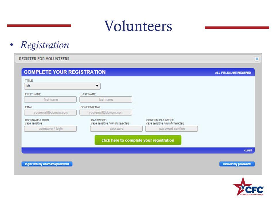 Volunteers Registration