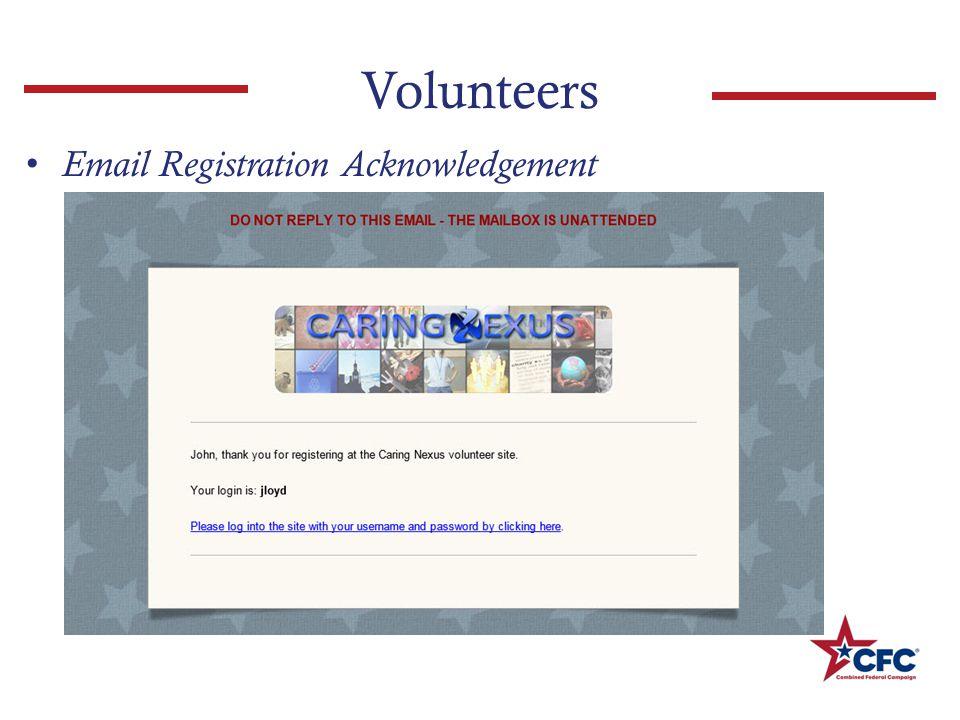 Volunteers Email Registration Acknowledgement