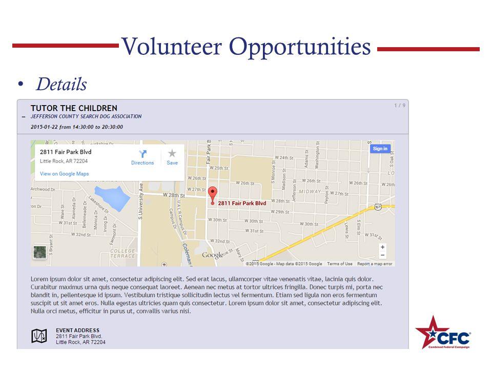 Volunteer Opportunities Details