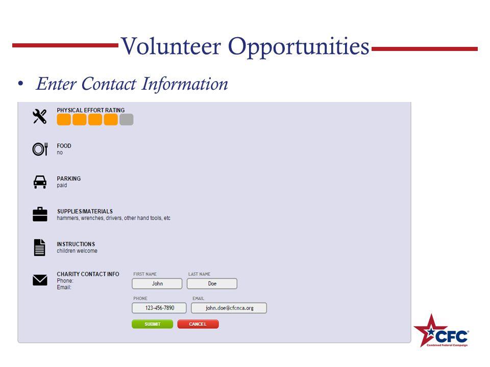 Volunteer Opportunities Enter Contact Information