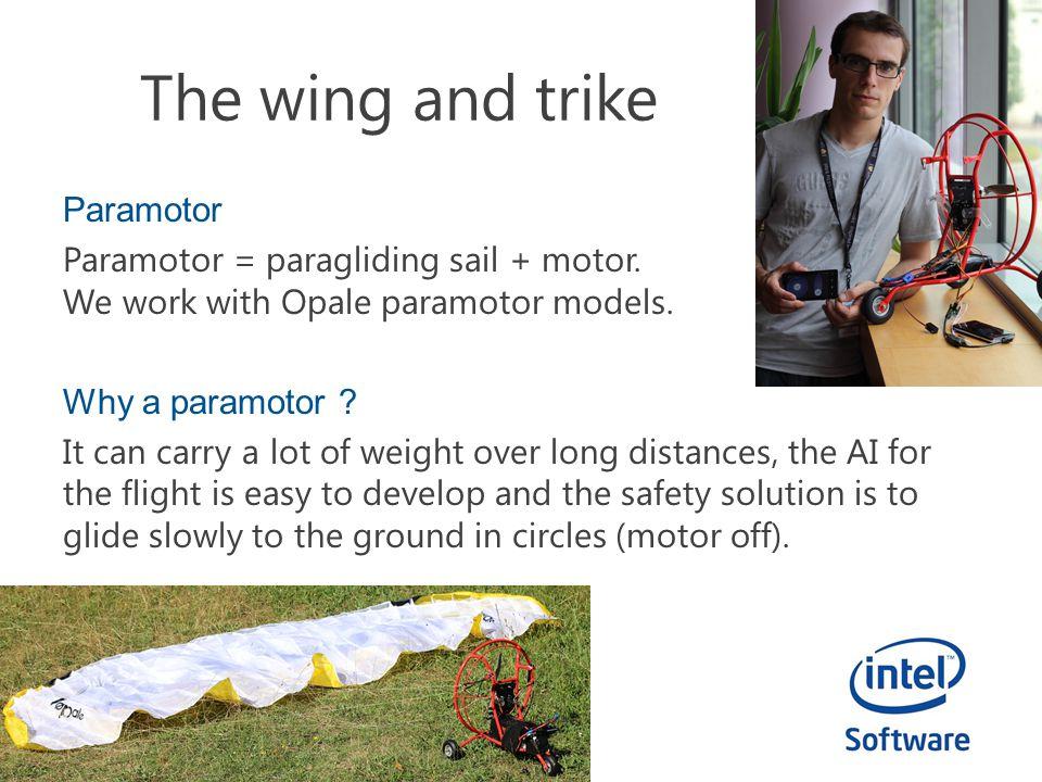 The wing and trike Paramotor Paramotor = paragliding sail + motor.