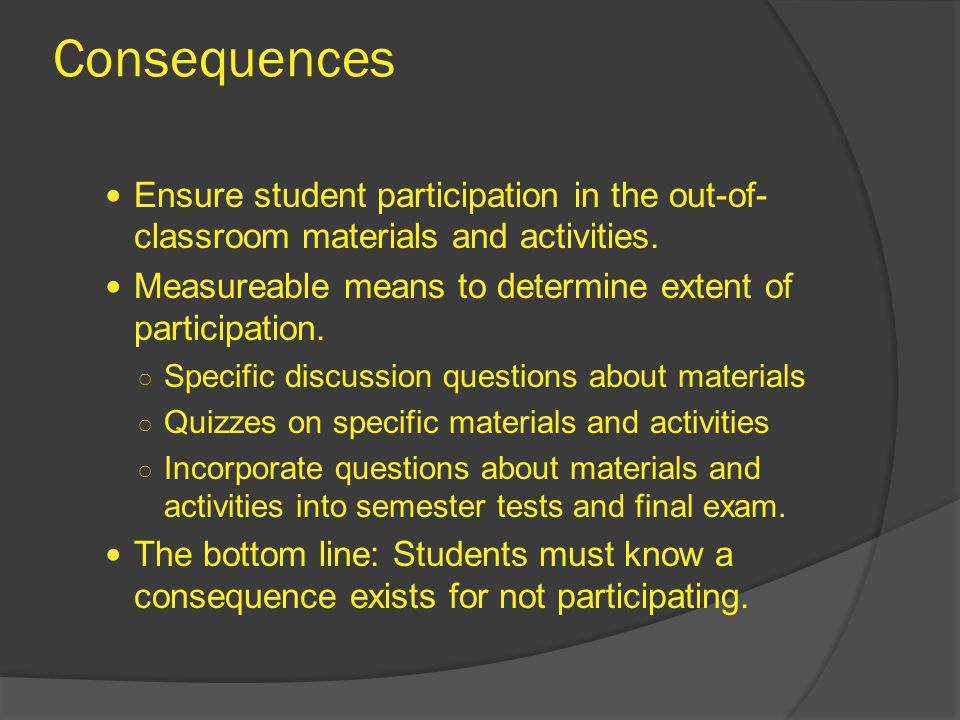 Consequences Ensure student participation in the out-of- classroom materials and activities.