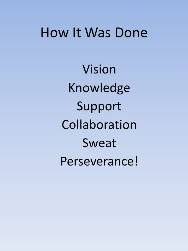 How It Was Done Vision Knowledge Support Collaboration Sweat Perseverance!