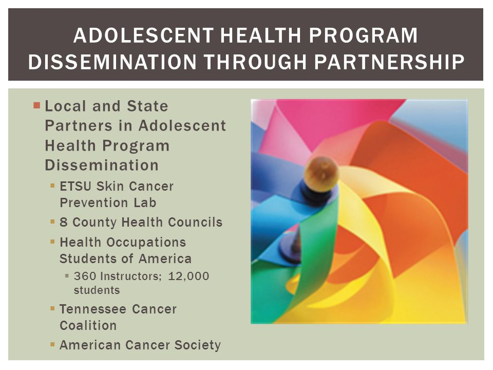  Local and State Partners in Adolescent Health Program Dissemination  ETSU Skin Cancer Prevention Lab  8 County Health Councils  Health Occupation