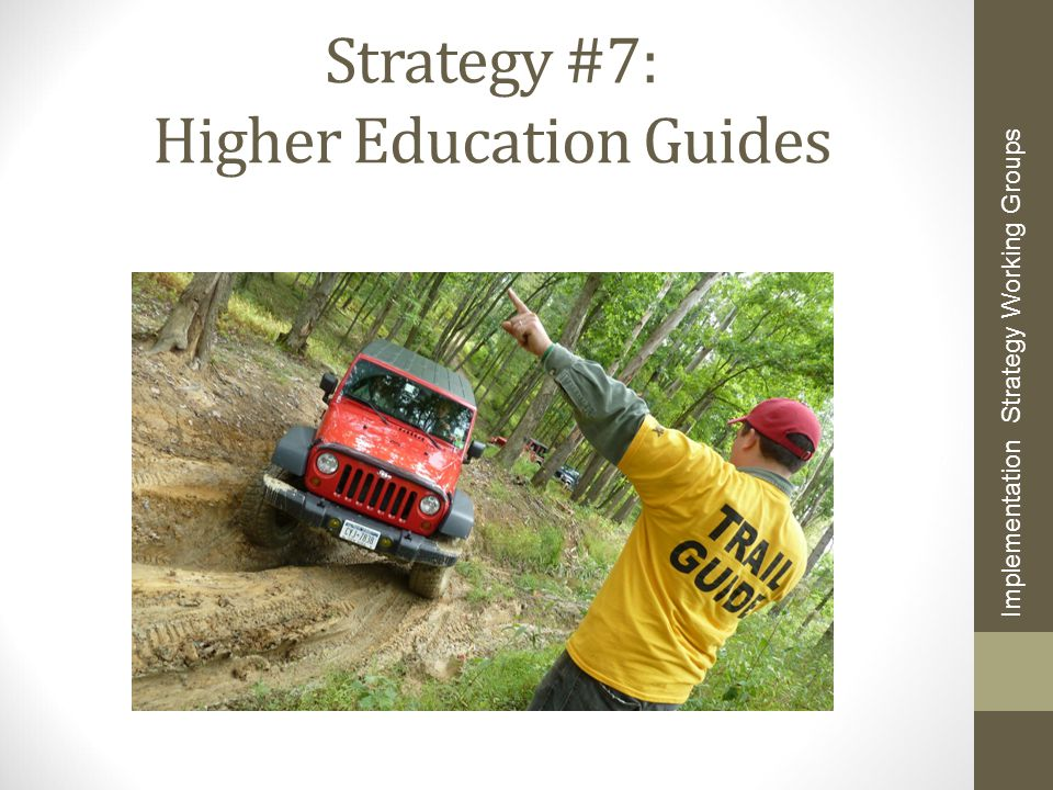 Strategy #7: Higher Education Guides Implementation Strategy Working Groups