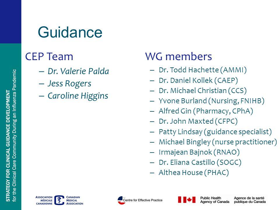 CEP Team – Dr. Valerie Palda – Jess Rogers – Caroline Higgins WG members – Dr.