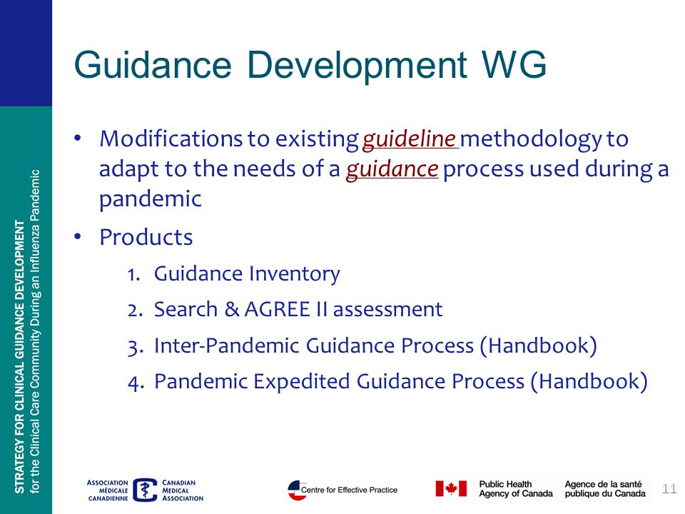 Guidance Development WG Modifications to existing guideline methodology to adapt to the needs of a guidance process used during a pandemic Products 1.Guidance Inventory 2.Search & AGREE II assessment 3.Inter-Pandemic Guidance Process (Handbook) 4.Pandemic Expedited Guidance Process (Handbook) 11
