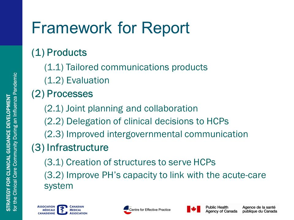 Framework for Report (1) Products (1.1) Tailored communications products (1.2) Evaluation (2) Processes (2.1) Joint planning and collaboration (2.2) Delegation of clinical decisions to HCPs (2.3) Improved intergovernmental communication (3) Infrastructure (3.1) Creation of structures to serve HCPs (3.2) Improve PH's capacity to link with the acute-care system