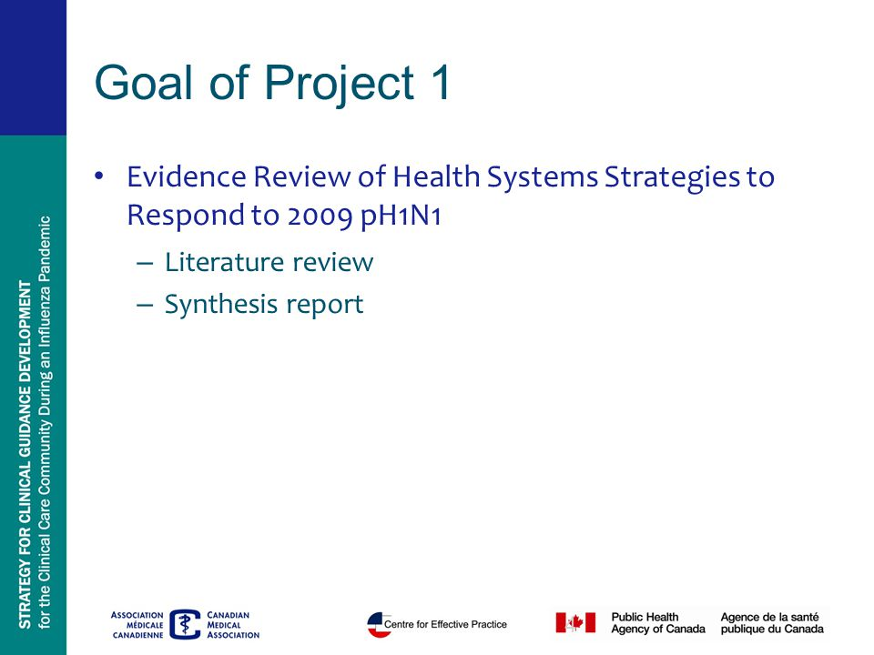 4 Goal of Project 1 Evidence Review of Health Systems Strategies to Respond to 2009 pH1N1 – Literature review – Synthesis report