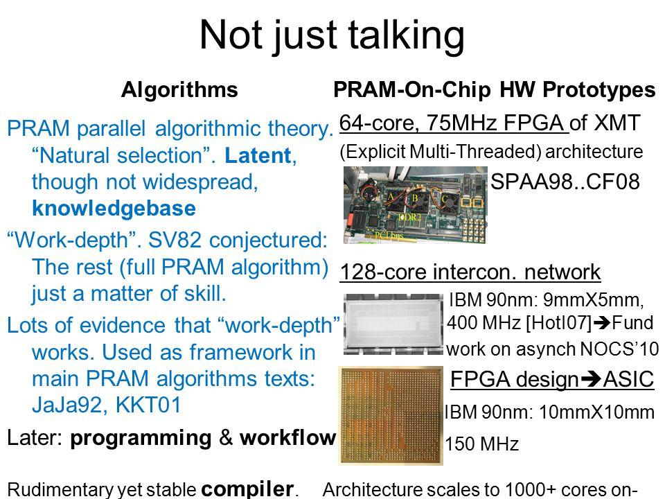 Not just talking Algorithms PRAM parallel algorithmic theory.