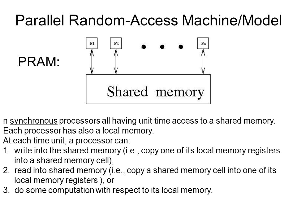 Parallel Random-Access Machine/Model PRAM: n synchronous processors all having unit time access to a shared memory. Each processor has also a local me