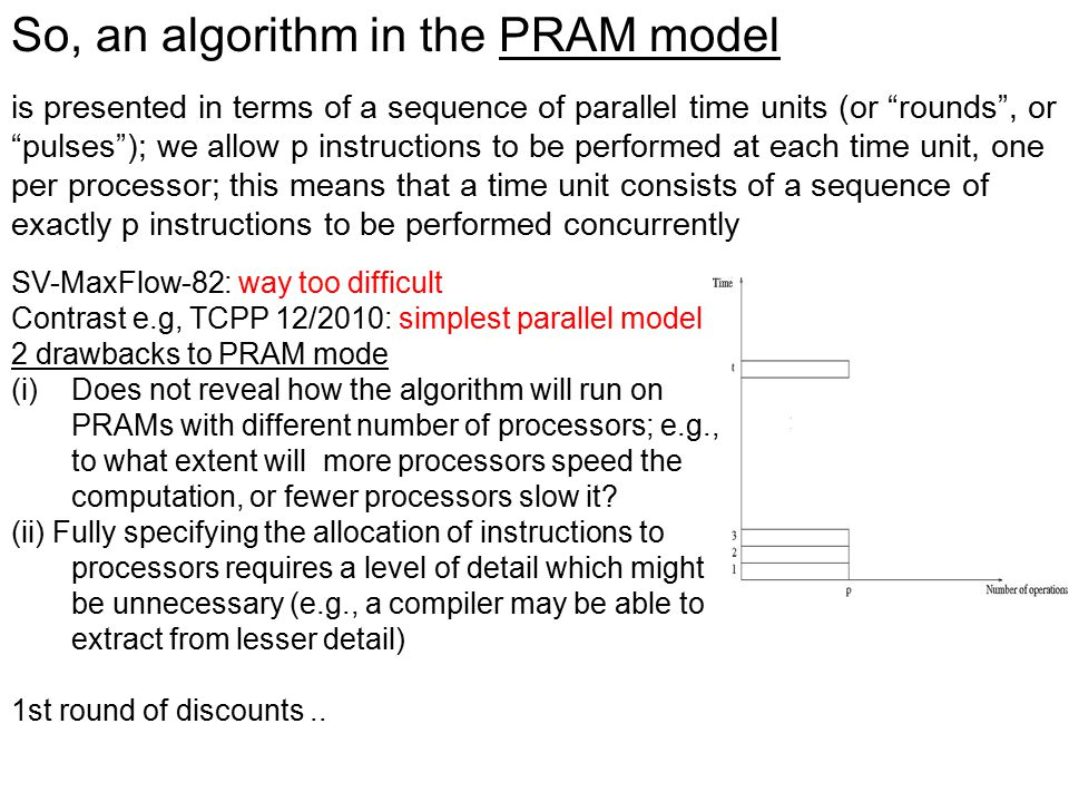 """So, an algorithm in the PRAM model is presented in terms of a sequence of parallel time units (or """"rounds"""", or """"pulses""""); we allow p instructions to b"""
