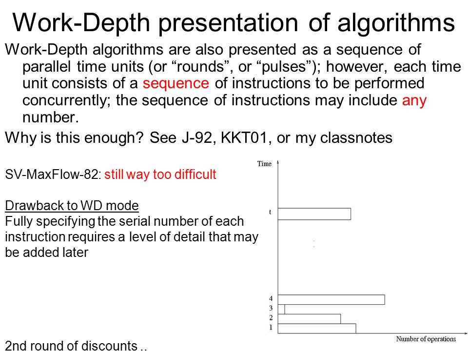 Work-Depth presentation of algorithms Work-Depth algorithms are also presented as a sequence of parallel time units (or rounds , or pulses ); however, each time unit consists of a sequence of instructions to be performed concurrently; the sequence of instructions may include any number.