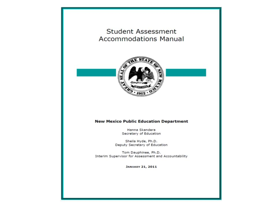 A New Accommodations Manual Contains a table of contents that clearly identifies sections focused on English language learner parameters.
