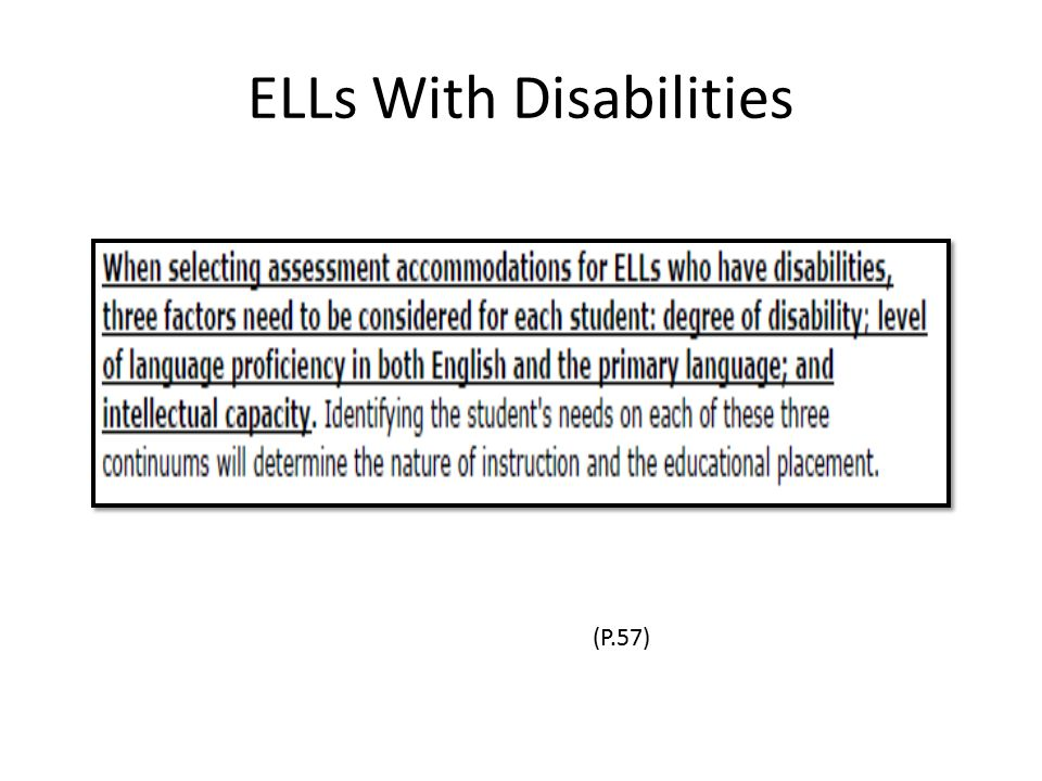 ELLs With Disabilities (P.57)